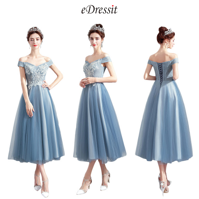 Sexy Off shoulder Grey Tulle Party Ball Dress
