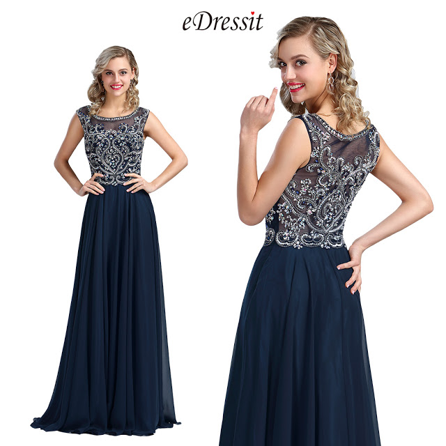 Blue Beaded A-line Prom Gown Formal Wear