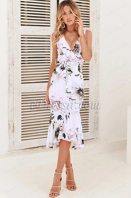 Sexy Mermaid White Printed Dress Summer Wear