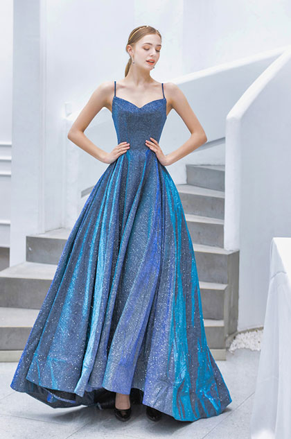 blue prom dress with spaghetti straps