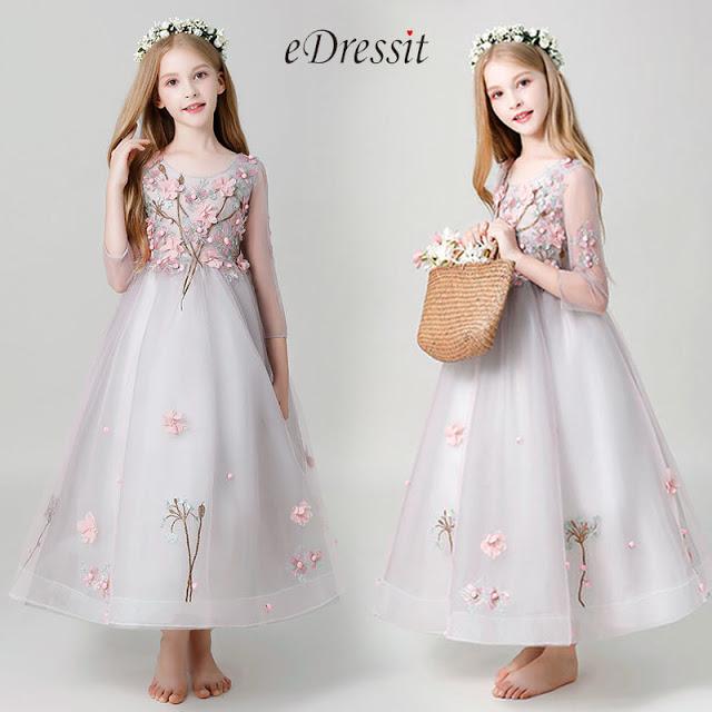 Princess 3/4 Sleeves Children Wedding Flower Girl Dress