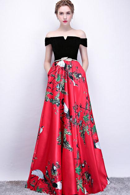 Black Off Shoulder Floral Skirt Party Ball Dress