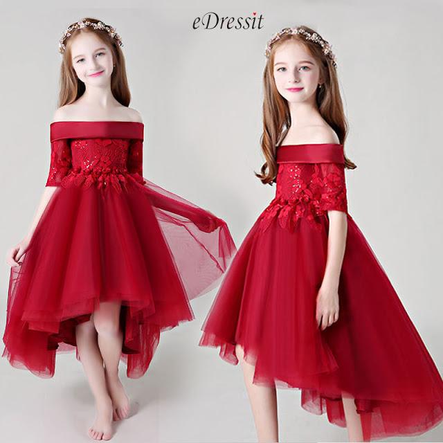 Red Off Shoulder Lace Flower Girl Dress
