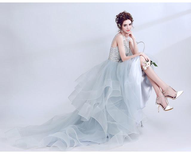 Light Blue Beaded Layer Tulle Women Wedding Dress