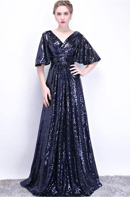 Sexy V-Cut Sequins Elegant Party Prom Dress