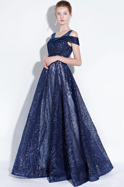 Blue Off Shoulder V- Cut Sparkle Sequins Evening