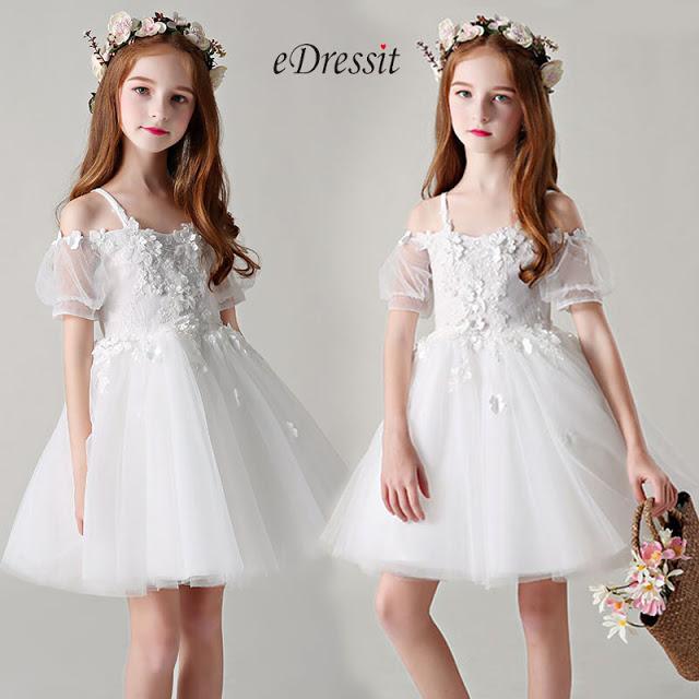 Princess White Children Wedding Flower Girl Dress