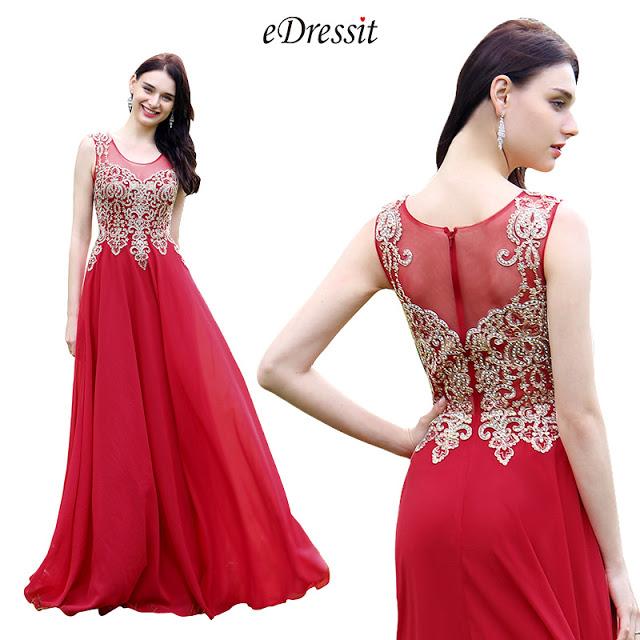 Elegant Red Beaded Prom Evening Dress