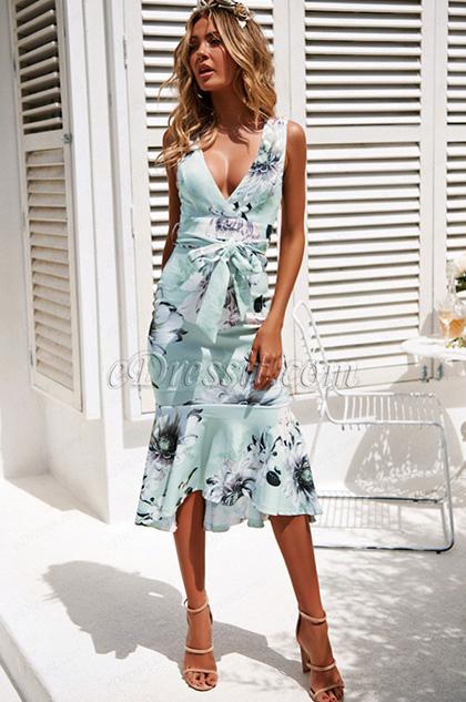 Sexy Mermaid Printed Dress Summer Wear