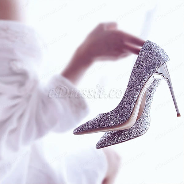 Women's Sparkling Glitter High Heel Closed Toe Pumps Shoes