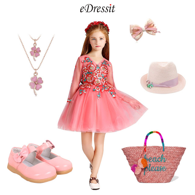 Cute Pink Little Girl Wedding Flower Girl Dress