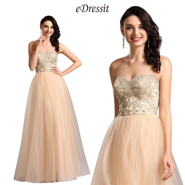 Elegant Strapless Sweetheart Beige Ball Gown Formal Dress