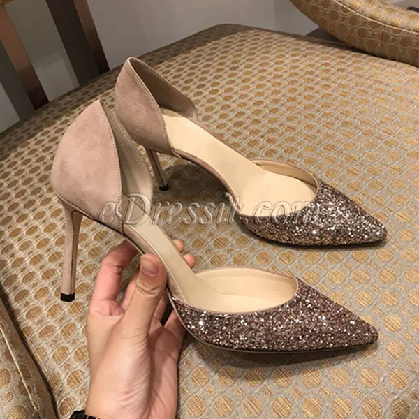 Women Chic Sequins Toe Closed High Heels Shoes