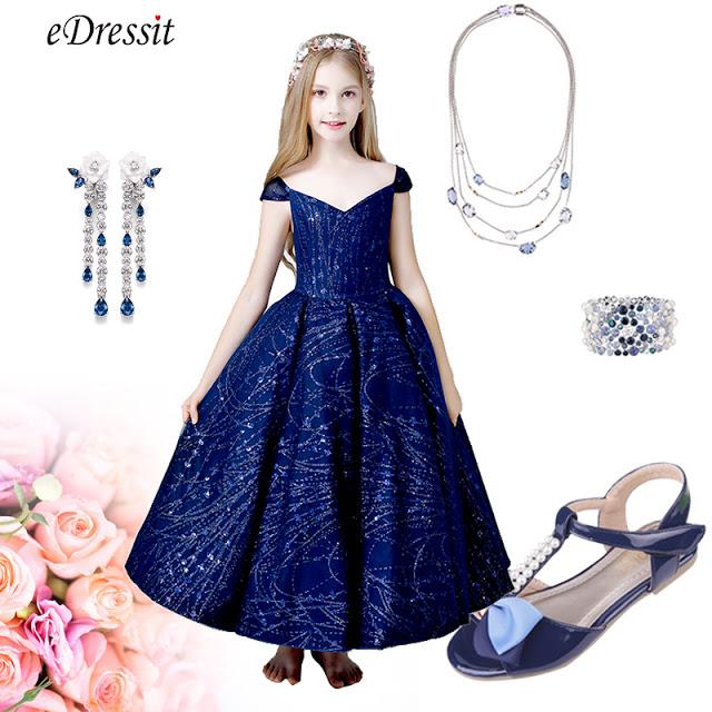 Navy Blue Cap Sleeves Flower Girl Dress