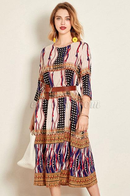 Silk Round Neck Printed Dress Wear to Work