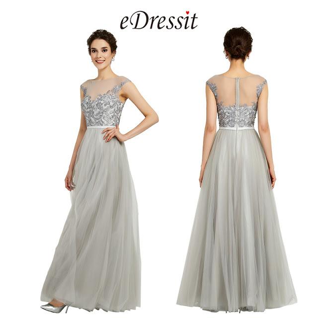 Grey Elegant Sleeveless Lace Applique Formal Women Dress
