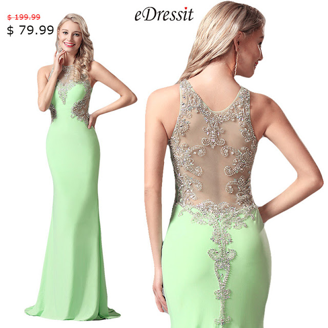 SLEEVELESS LIGHT GREEN GOWN WITH FULLY BEADED BODICE
