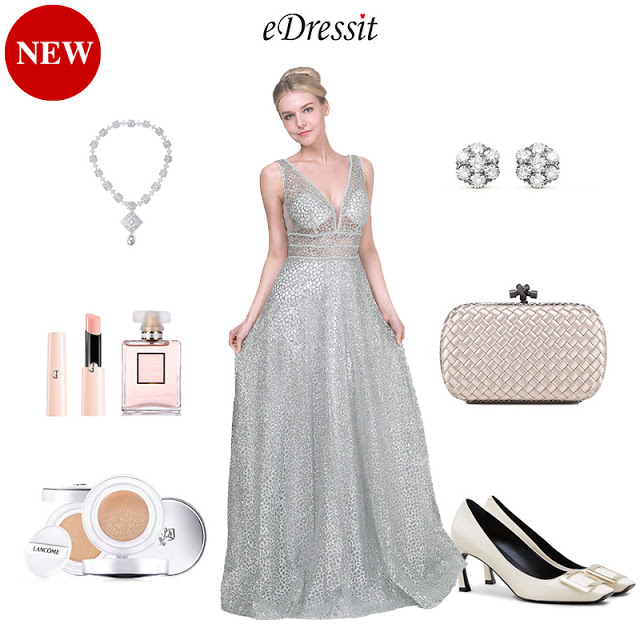 SEXY SILVER SEQUINS FABRIC LONG PARTY EVENING DRESS