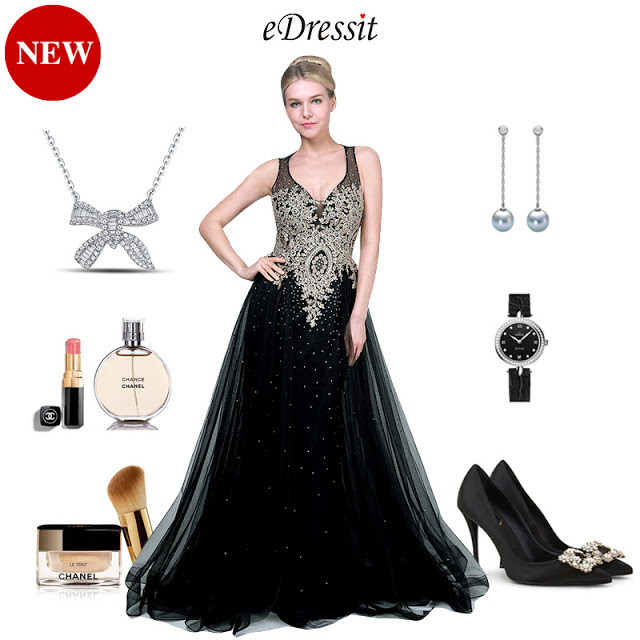 NEW BLACK&GOLD V-CUT TULLE FORMAL PARTY GOWN DRESS