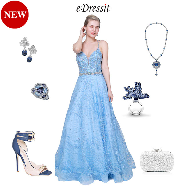 NEW BLUE V-CUT BEADED TULLE LONG PARTY PROM DRESS