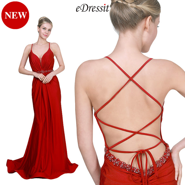 NEW RED SPAGHETTI STRAPS V-CUT PARTY EVENING DRESS