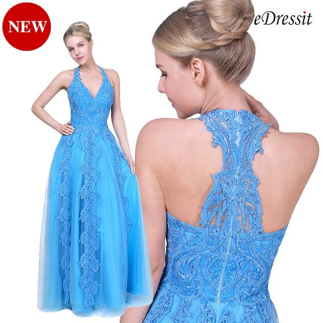 NEW BLUE HALTER V-CUT TULLE PROM EVENING DRESS