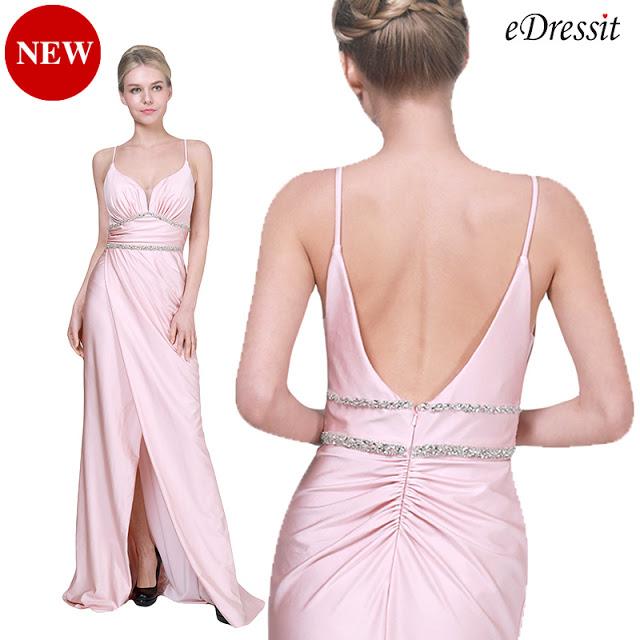NEW PINK SPAGHETTI V-CUT SLIT PARTY EVENING DRESS