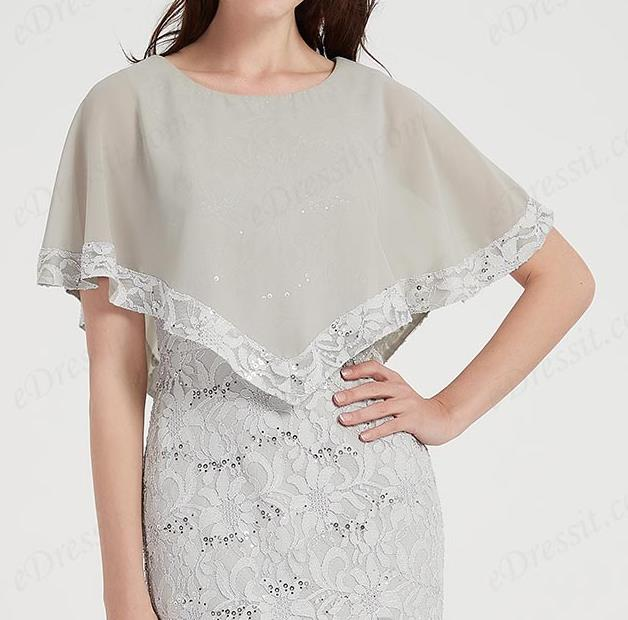 grey prom dress round neck with cape