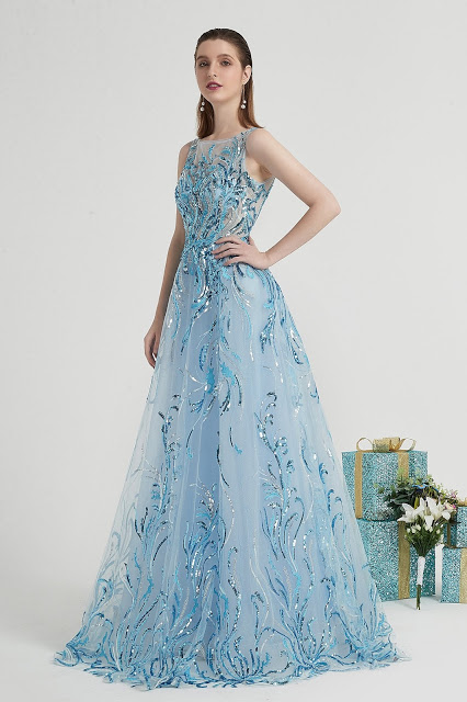 Blue Shiny Sequins Elegant Party Long Evening Dress-eDressit