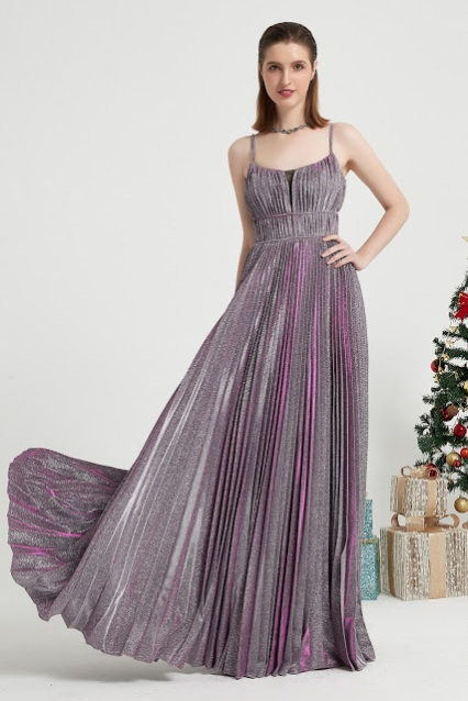 Purple Spaghetti Sparkle Elegant Party Prom Dress