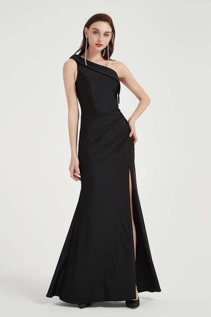 Black One Shoulder High Slit Party Evening Dress-eDressit