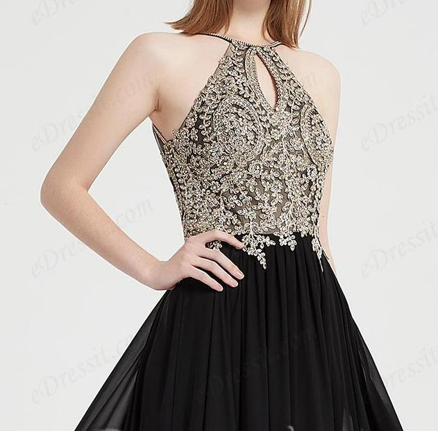 black prom dresses with halter neckline