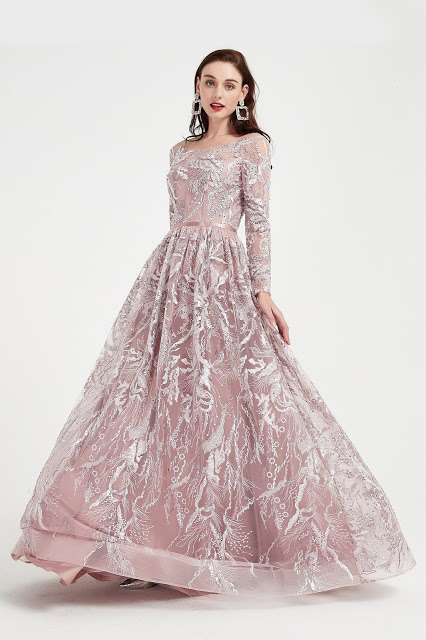 Illusion Neck Long Sleeves Sequins Beaded Party Ball Gown