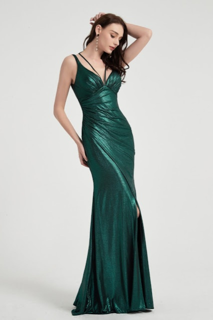 Green V-Cut Straps High Slit Party Evening Gown