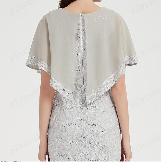 Grey Cape Top Lace Applique Party Ball Dress
