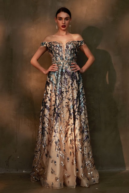 Gorgeous Beaded Off Shoulder Shiny Prom Gown