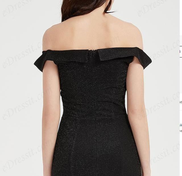 Sexy Black OFF Shoulder Elegant Party Evening Dress