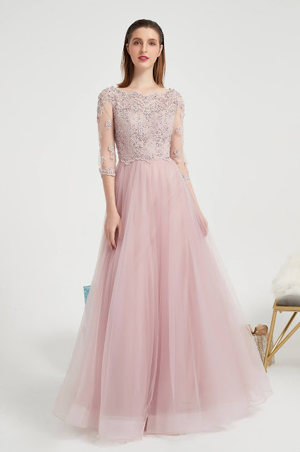 Pink New Beaded Embroider Sleeves Prom Party Evening Dress