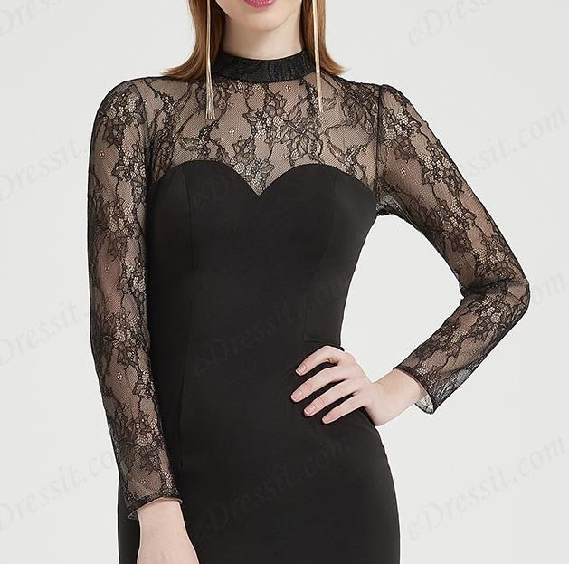 high neck long lace slleves high low black prom dress