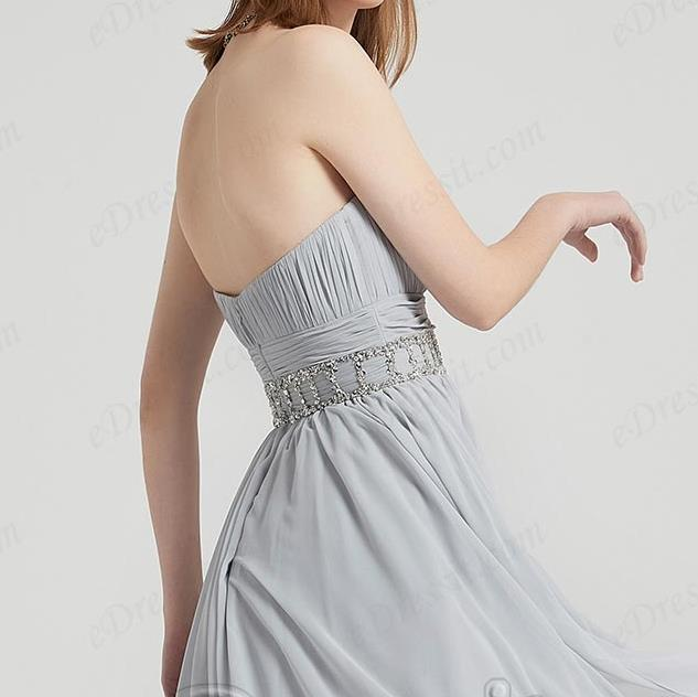 Grey Corset Beads Waistbelt Elegant Ball Party Dress