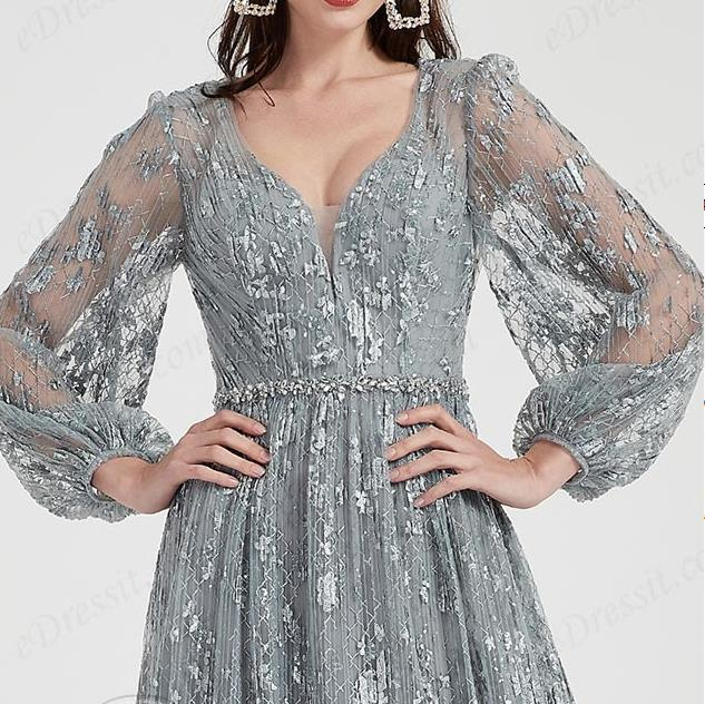 long sleeves grey lace evening dress