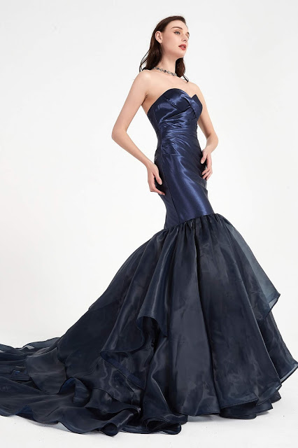 Blue Party Dress with Sweethear Corset Prom Gown-eDressit