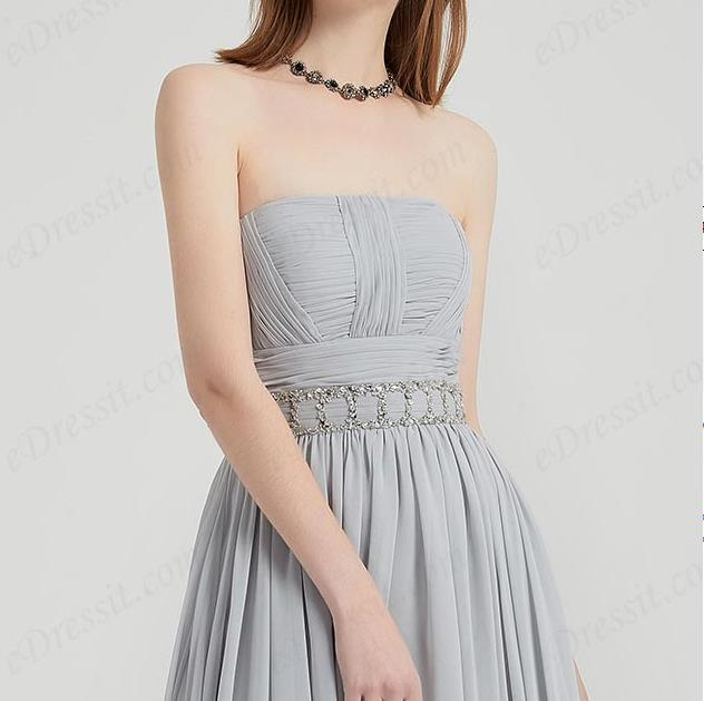 strapless flat neckline grey prom dress A-line with waistbelt