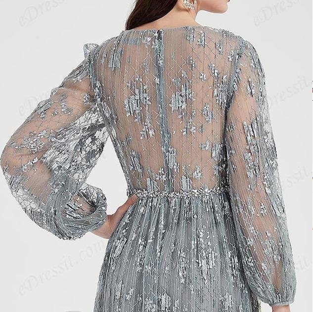 Sexy Grey Long Sleeves Lace Tulle Party Evening Dress