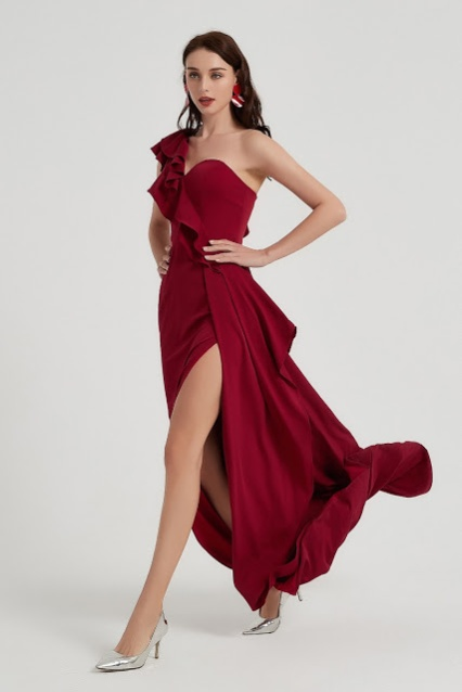 Burgundy One Ruffle Shoulder Slit Party Evening Dress