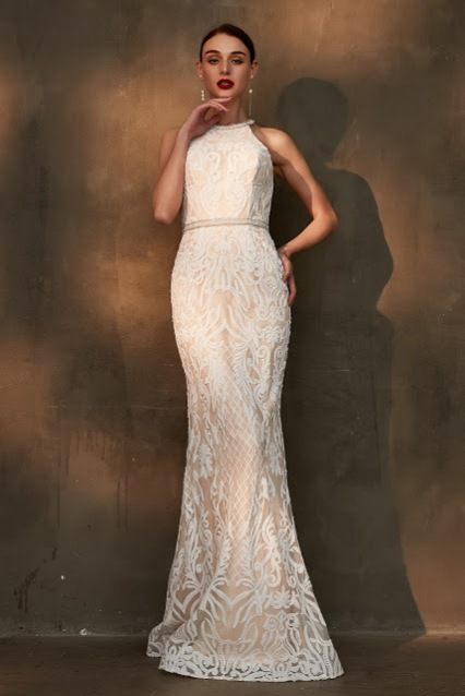 trumpet halter beige lace wedding dress
