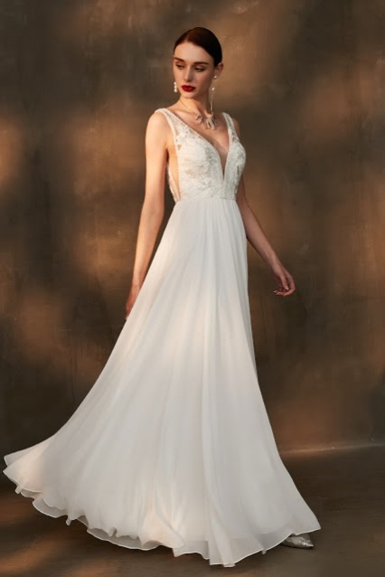 deep v neck sleeveless white wedding dress A-line