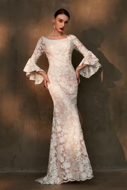 long trumpet sleeves lace wedding dress sheath